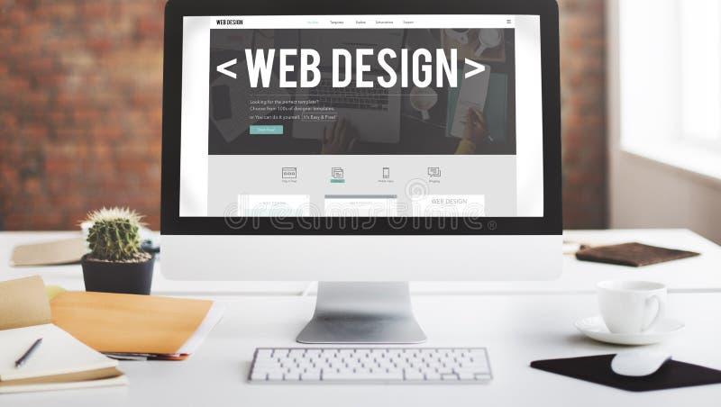 Concept van de de Internetwebsite het Ontvankelijke Software van het Webontwerp royalty-vrije stock foto