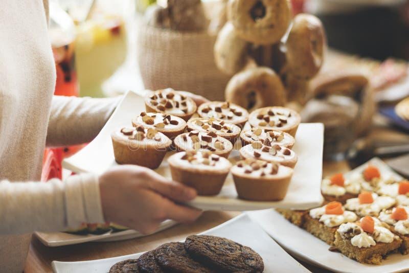 Concept van de de Koffiepartij van de dessertcake het Zoete stock afbeelding
