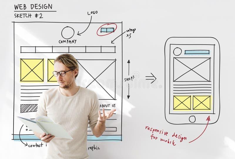 Concept van de de Technologieinhoud van het Webontwerp het Online royalty-vrije stock afbeelding