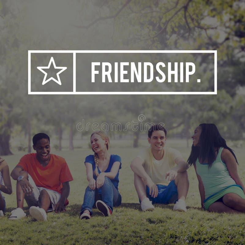 Concept van de de Troepgroep van de vriendenvriendschap het Vriendschappelijke stock afbeeldingen