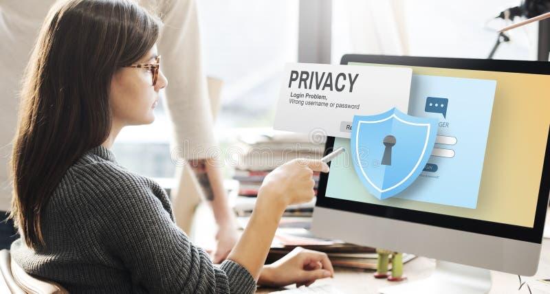Concept van de de Veiligheidseenzaamheid van de privacy het Vertrouwelijke Bescherming stock fotografie