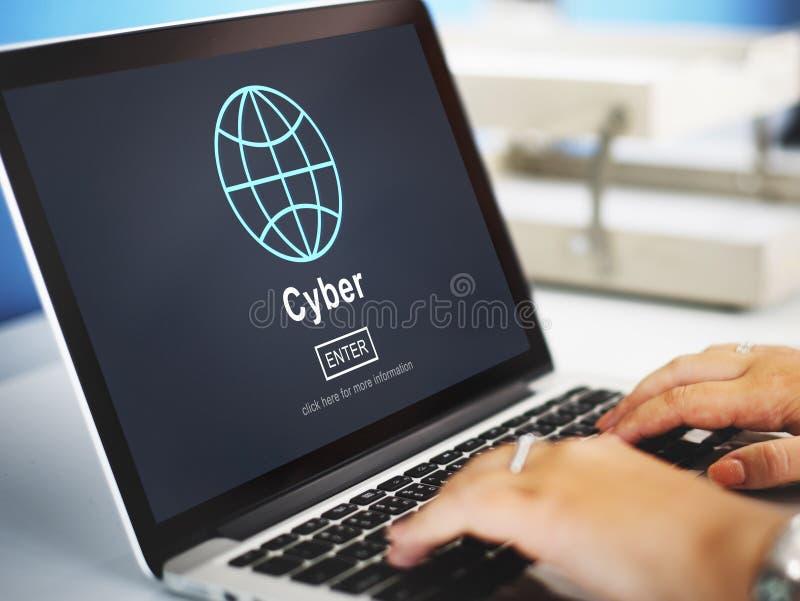 Concept van de de Verbindingsglobalisering van Cyberinternet het Online stock foto