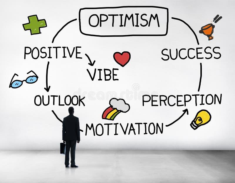 Concept van de de Waarnemingsvisie van Vibe van optimisme het Positieve Vooruitzichten royalty-vrije illustratie