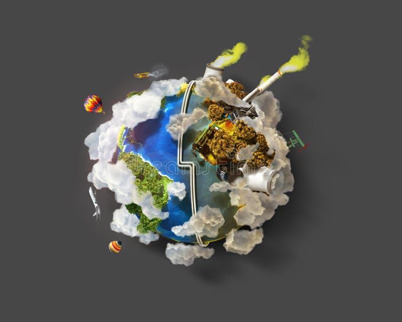 Concept van de Eco het Vriendschappelijke, groene energie stock illustratie