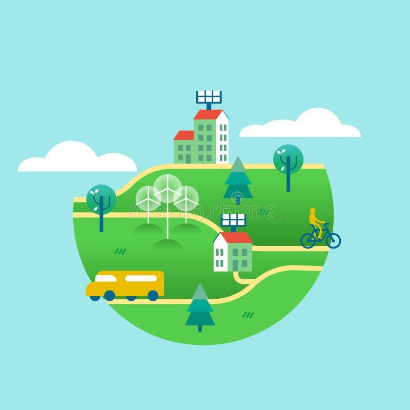Concept van de Eco het vriendschappelijke groene wereld met schone energie stock illustratie
