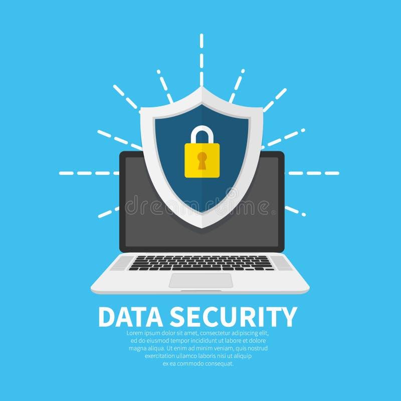 Concept van de gegevensbeveiliging het vlakke illustratie Laptop met schild en slot Vlak beeldverhaalontwerp, vectorillustratie  vector illustratie