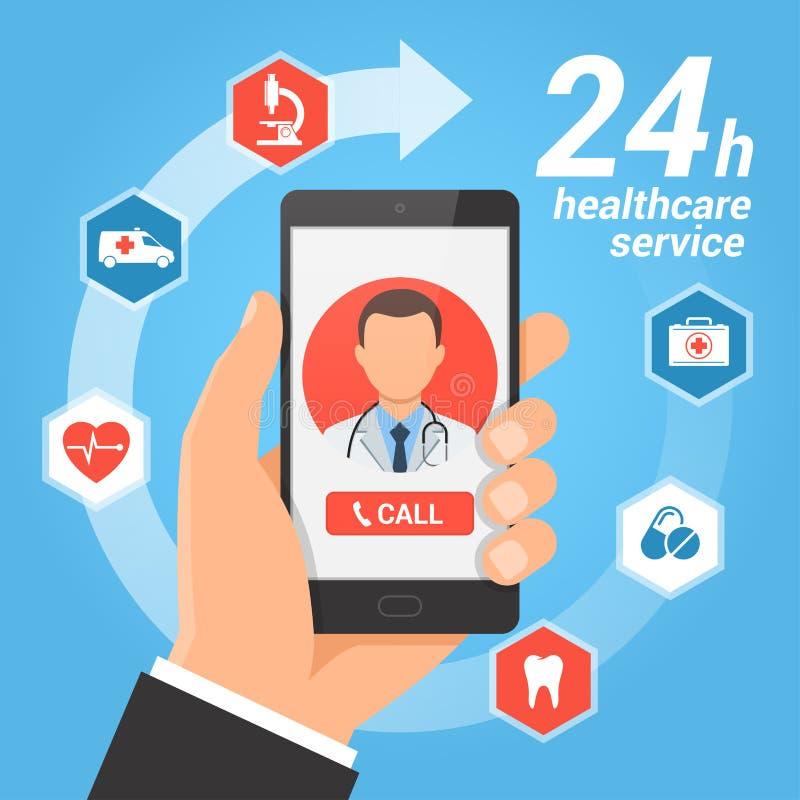 Concept van de gezondheidszorg het mobiele dienst stock illustratie