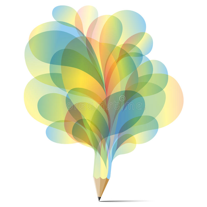 Concept van de het potlood vastgestelde textuur van de kunstbel het blauwe, gele en groene royalty-vrije illustratie