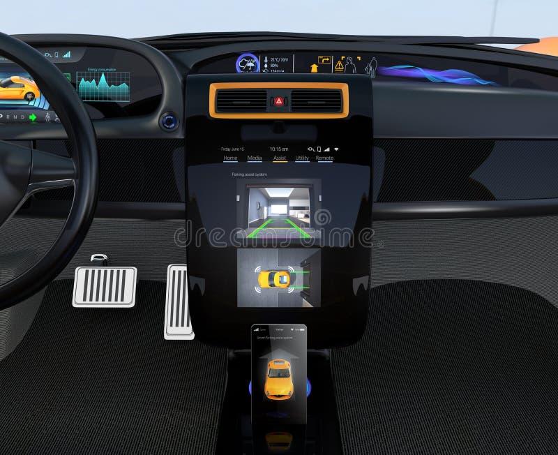 Concept van de het systeeminterface van het elektrisch voertuig het automatische parkeren vector illustratie