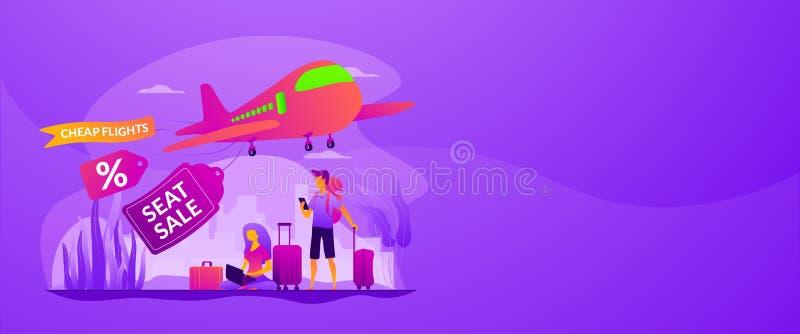 Concept van de het Webbanner van lage kostenvluchten het vector stock illustratie
