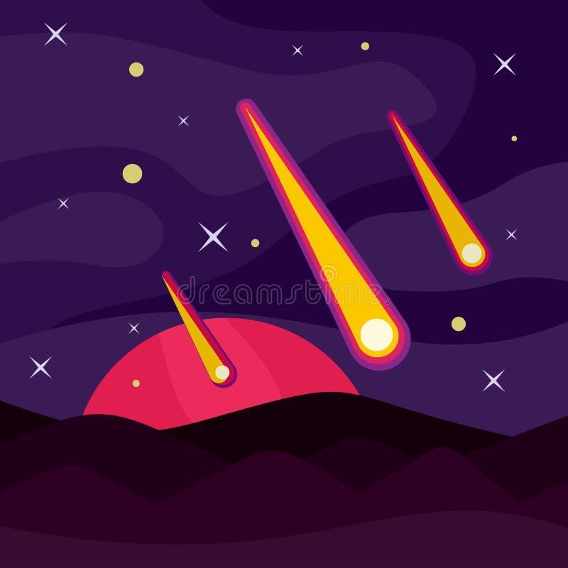 Concept van de meteoriet het stervormige banner, vlakke stijl royalty-vrije illustratie