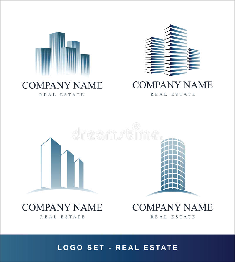 Concept van de Onroerende goederen van het embleem het vastgestelde stock illustratie