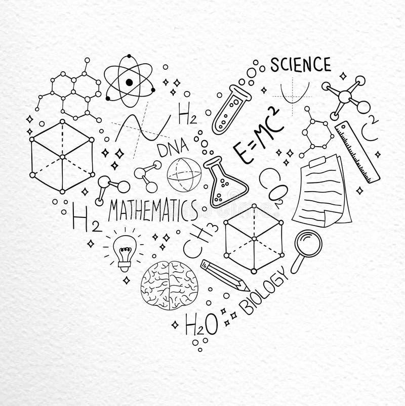 Concept van de de pictogrammenliefde van de wetenschaps het hand getrokken krabbel royalty-vrije illustratie