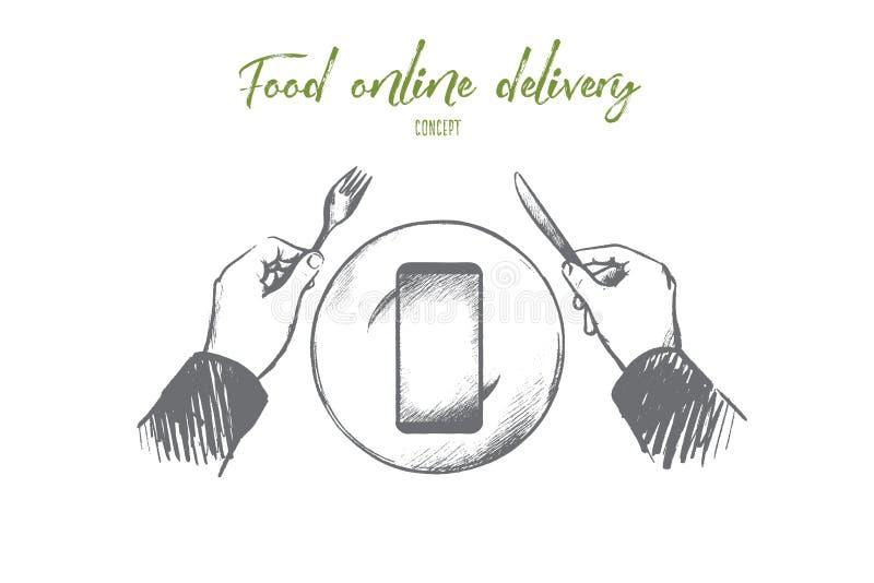 Concept van de voedsel het online levering Hand getrokken geïsoleerde vector royalty-vrije illustratie