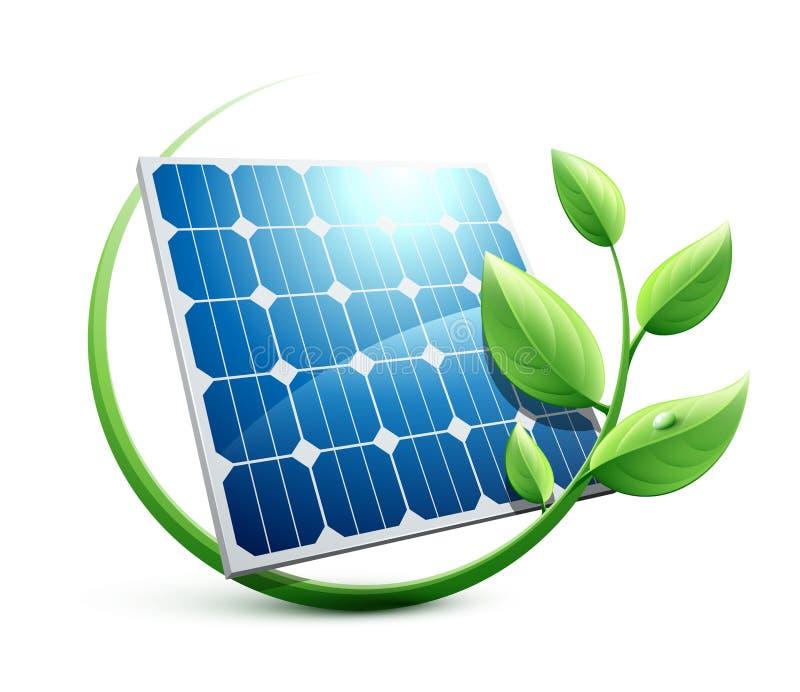 Concept van de zonnepaneel het groene energie royalty-vrije illustratie