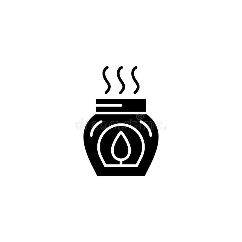 Concept van het Aromatherapy het zwarte pictogram Aromatherapy vlak vectorsymbool, teken, illustratie vector illustratie