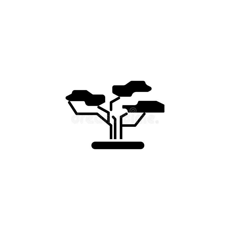 Concept van het baobab het zwarte pictogram Baobab vlak vectorsymbool, teken, illustratie vector illustratie