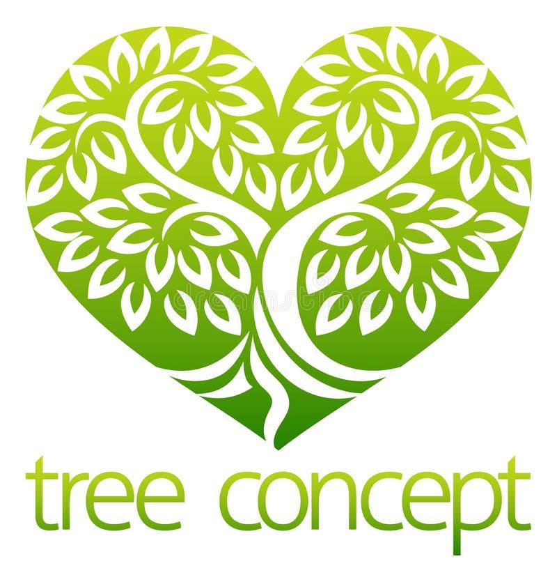 Concept van het boom het Hart Gestalte gegeven Pictogram stock illustratie