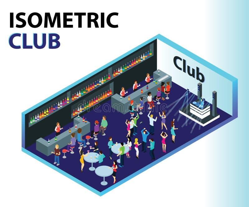 Concept van het club het Isometrische Kunstwerk waar de mensen partying royalty-vrije illustratie