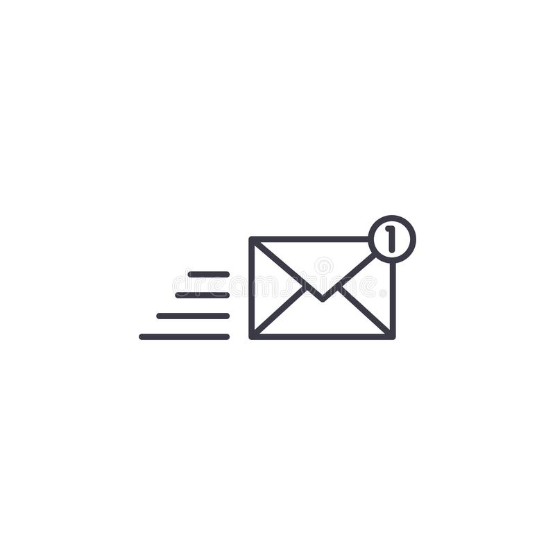 Concept van het communicatiemiddelen het lineaire pictogram Het vectorteken van de communicatiemiddelenlijn, symbool, illustratie royalty-vrije illustratie