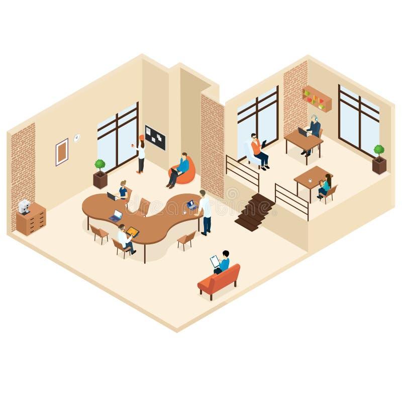 Concept van het Coworkings het Isometrische Centrum vector illustratie