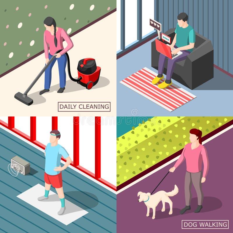 Concept van het dagelijks werk2x2 het Isometrische Ontwerp royalty-vrije illustratie