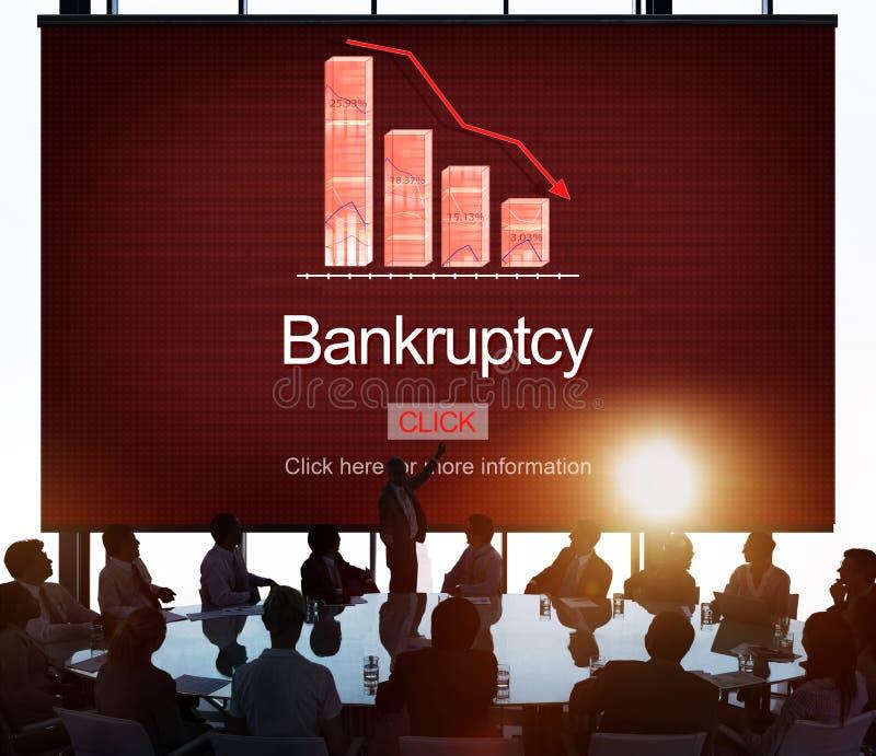Concept van het de Betalingsprobleem van de faillissementsschuld het Lening Verschuldigd geweeste stock afbeeldingen