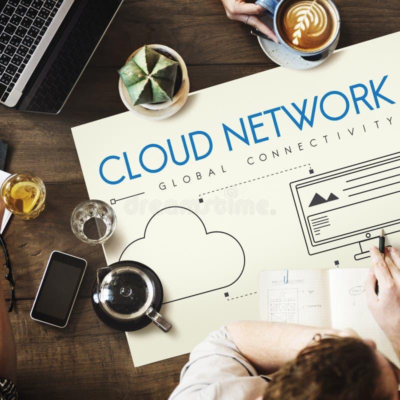 Concept van het de Connectiviteitsaandeel van het wolkennetwerk het Globale stock afbeelding
