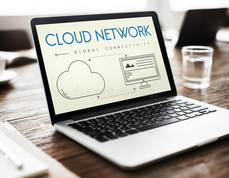 Concept van het de Connectiviteitsaandeel van het wolkennetwerk het Globale stock afbeeldingen