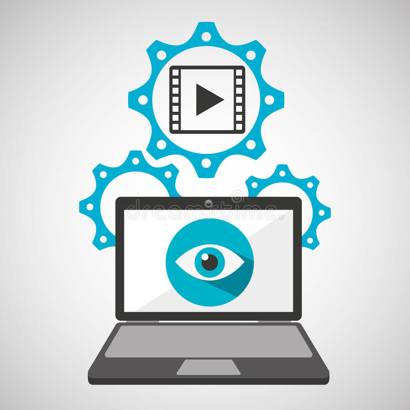 Concept van het de film het sociale netwerk van de computerbeveiligingfilm royalty-vrije illustratie