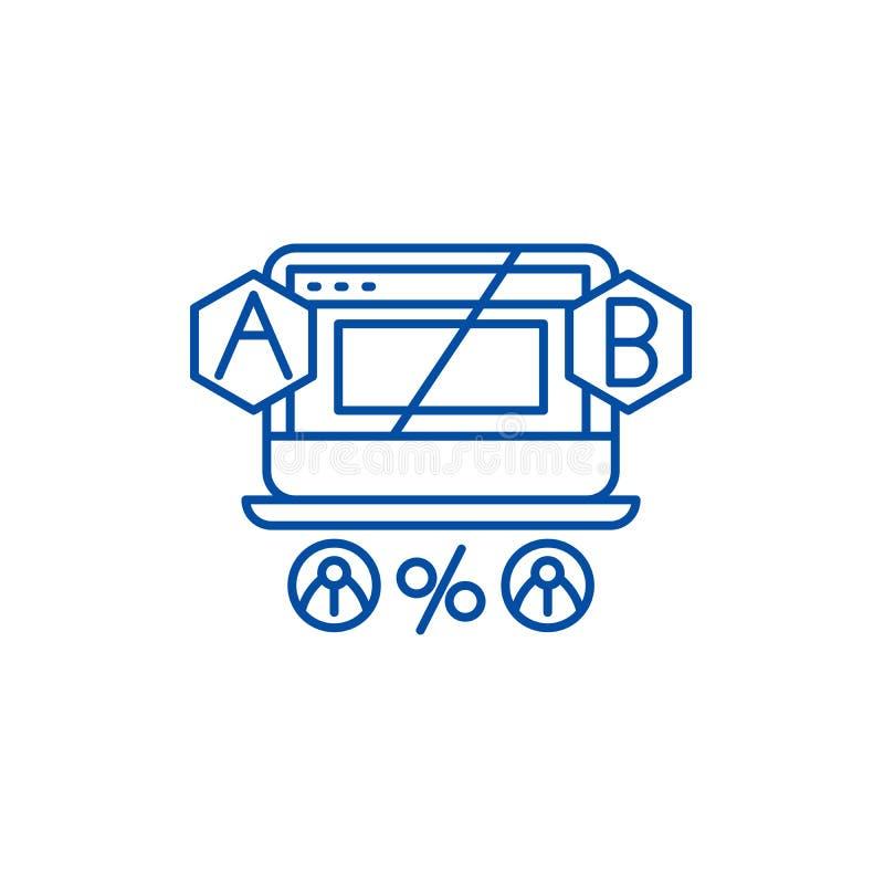 Concept van het de lijnpictogram van ab het testende Ab die vlak vectorsymbool, teken, overzichtsillustratie testen stock illustratie