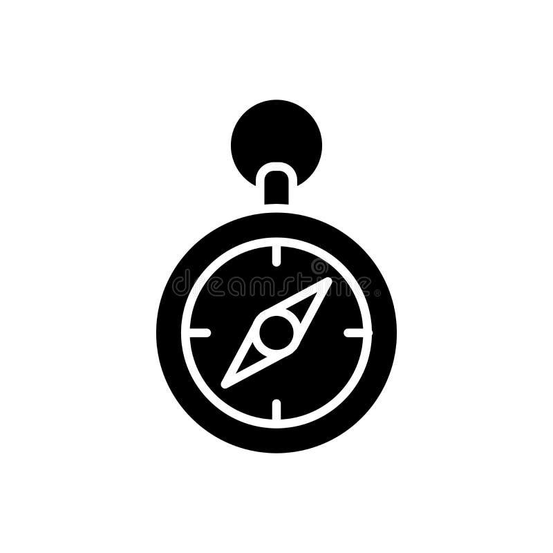 Concept van het de richtlijn het zwarte pictogram van het terreinkompas De richtlijn vlak vectorsymbool van het terreinkompas, te vector illustratie