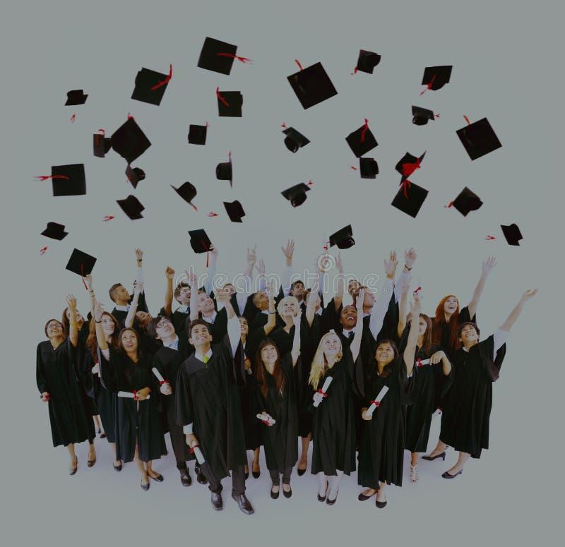 Concept van het de Studentensucces van graduatie het Universitaire Tieners stock afbeelding