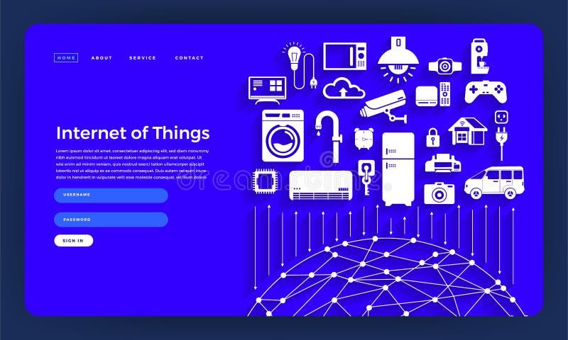 Concept van het de website het vlakke ontwerp van het modelontwerp Internet dingen (I royalty-vrije illustratie
