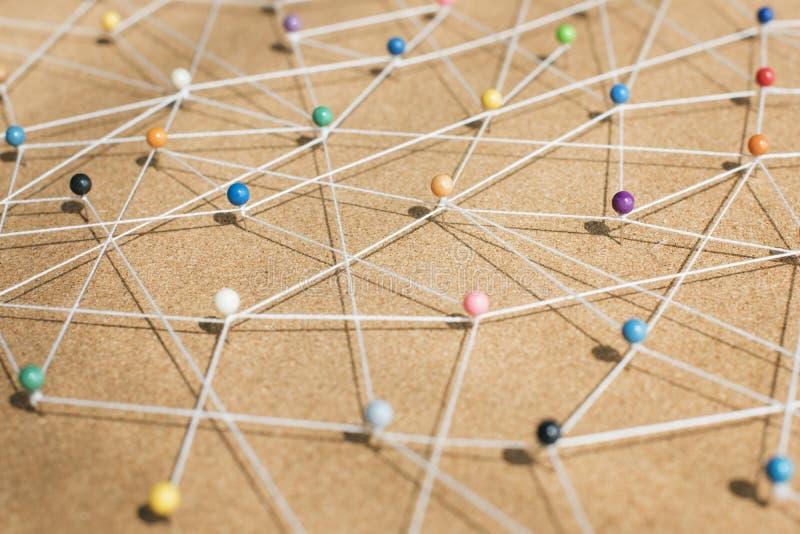 Concept van het duw het spelden verbonden netwerk royalty-vrije stock foto's