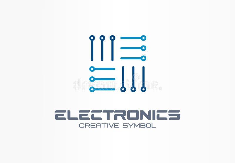 Concept van het elektronika het creatieve symbool Digitale technologie, software, hardwareverbetering, app abstract bedrijfsemble stock illustratie