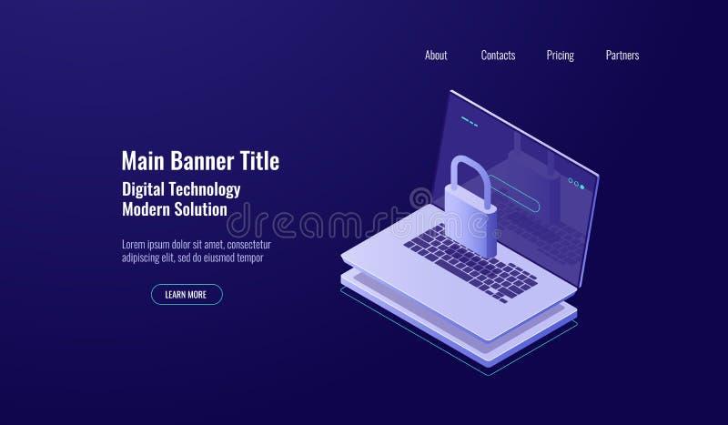 Concept van het gegevensbeveiliging het isometrische schild, laptop met slot, rekeningsbescherming, veilige internetwork, donker  stock illustratie