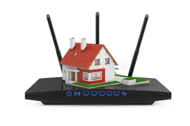 Concept van het huis het Draadloze Netwerk Plattelandshuisjehuis met Modern WiFi Ro royalty-vrije illustratie
