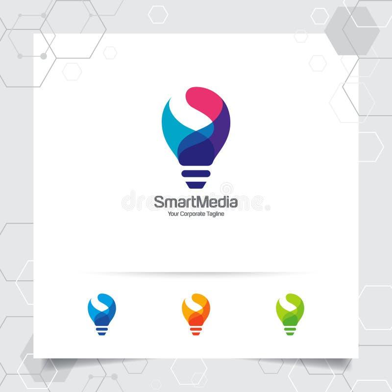 Concept van het het ideeontwerp van het bolembleem het slimme brievens symbool en kleurrijk lamp vectorpictogram Slim ideeembleem stock illustratie