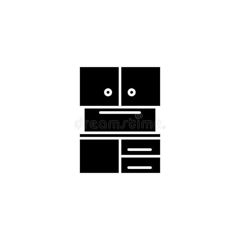 Concept van het keukenkast het zwarte pictogram Keukenkast vlak vectorsymbool, teken, illustratie stock illustratie