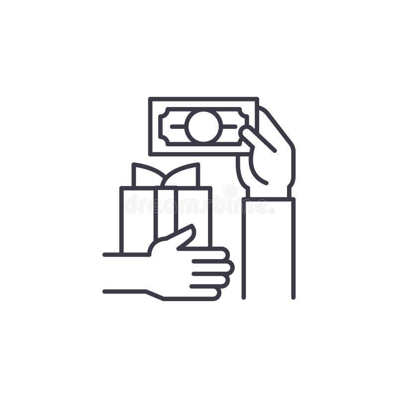 Concept van het koopjes het lineaire pictogram Het vectorteken van de koopjeslijn, symbool, illustratie royalty-vrije illustratie