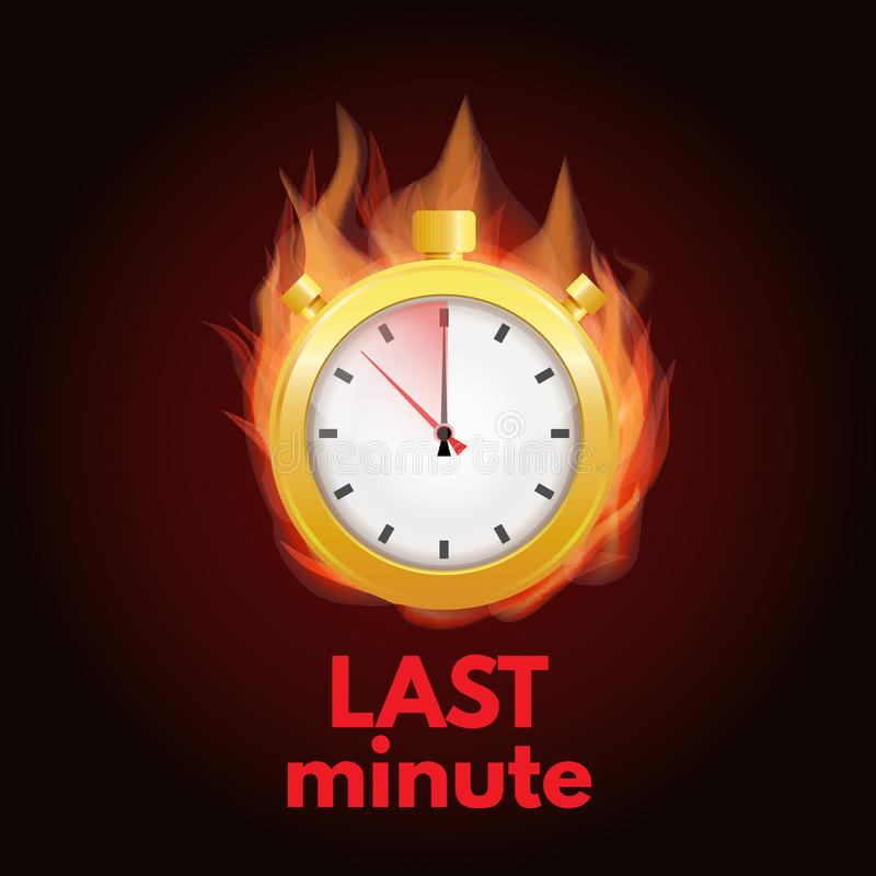 Concept van het laatste ogenblik, het uiterste termijn Het embleem van de Fastetijd stock illustratie