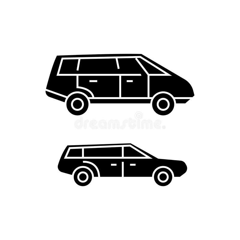 Concept van het Minivan het zwarte pictogram Minivan vectorteken, symbool, illustratie stock illustratie