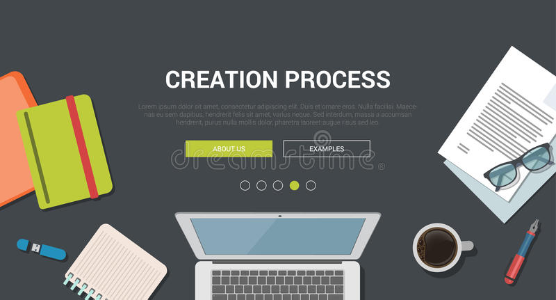 Concept van het model het moderne vlakke ontwerp voor creatief verwezenlijkingsproces royalty-vrije illustratie