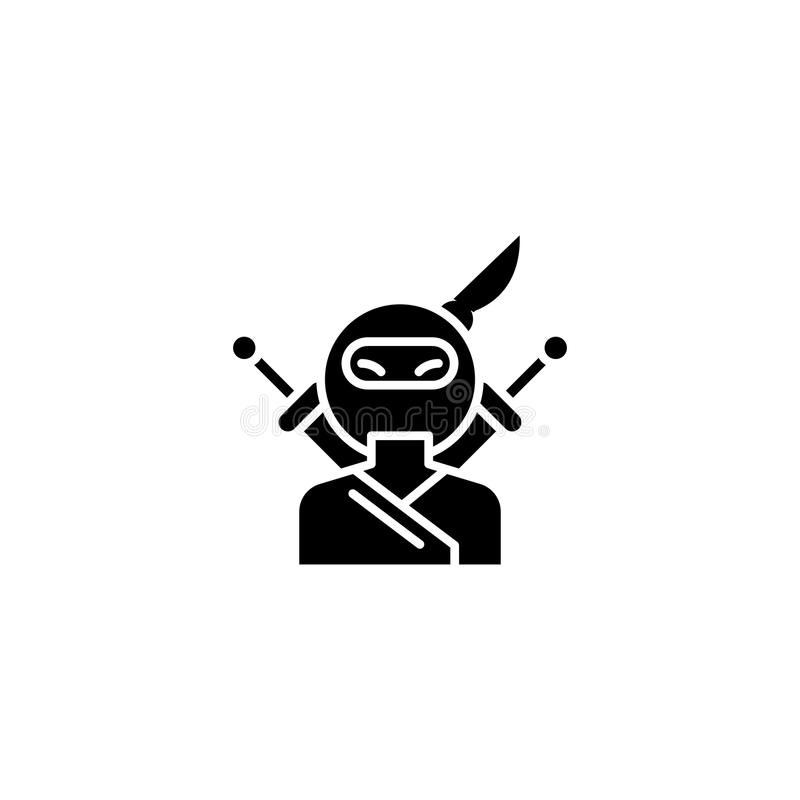 Concept van het Ninja het zwarte pictogram Ninja vlak vectorsymbool, teken, illustratie royalty-vrije illustratie