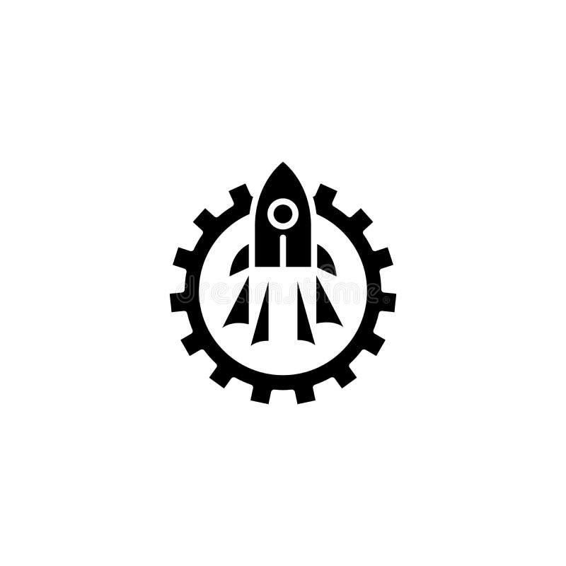 Concept van het opstarten van bedrijven het zwarte pictogram Opstarten van bedrijven vlak vectorsymbool, teken, illustratie vector illustratie