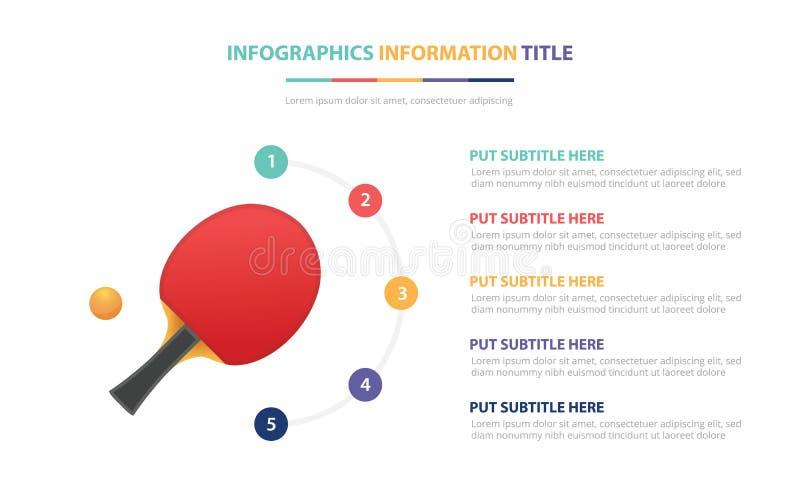 Concept van het pingpong maakt van het infographic malplaatje met vijf punten en diverse kleur met schone moderne witte achtergro vector illustratie