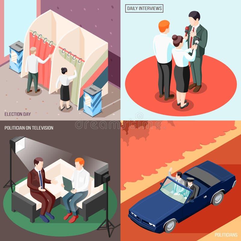 Concept van het politici het Isometrische Ontwerp vector illustratie