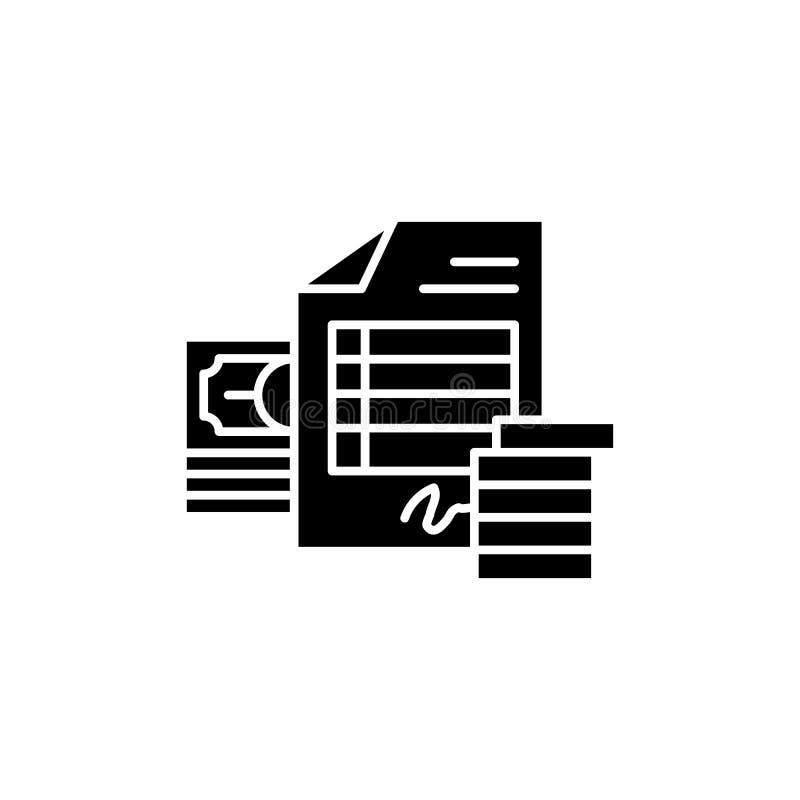 Concept van het rekenings het zwarte pictogram Rekenings vlak vectorsymbool, teken, illustratie stock illustratie