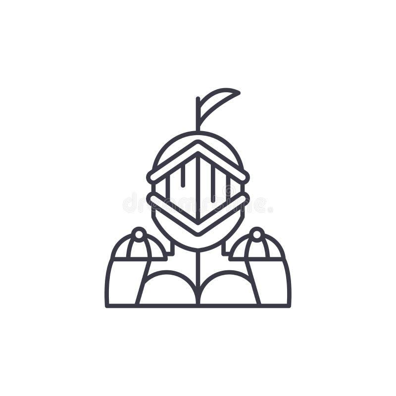Concept van het ridder het lineaire pictogram Het vectorteken van de ridderlijn, symbool, illustratie stock illustratie